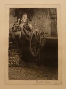 """Ragnhild Ender """"Ved rokken""""/17,7x28cm/kr. 500"""