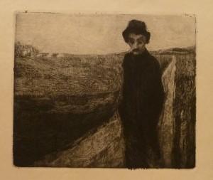 """Kristian Oppegaard """"Fremmed""""/29x24,5cm/kr. 600,-(fra mappe under)"""