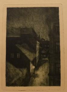 """Einar Wemberg """"Fra Bakkegaten""""/19x27,5cm/kr. 600,-(fra mappe under)"""