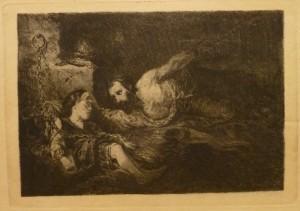 """Alfred Hammarbæck """"Frå inkvisitionens tid""""/44,5x31,5cm/kr. 800,-(fra mappe under)"""