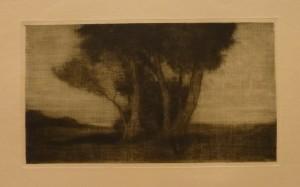 """Arnt Christensen """"En trægruppe""""/29,5x16,5cm/kr. 400,-(gra mappe under)"""
