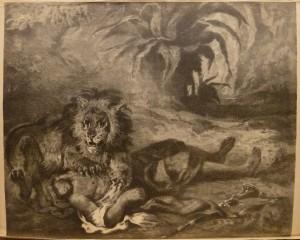 "Even Framdal ""Løve og Araber""/57,4x47,3cm/kr. 900,-(fra mappe under)"