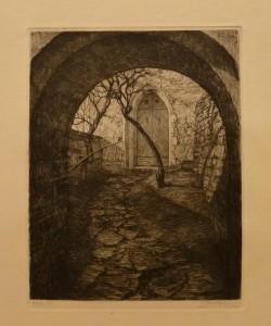"""Kristofer Eriksen """"Porten til mørkegangen på Akershus"""" /18,2x24cm/kr. 400,-(fra mappe under)"""