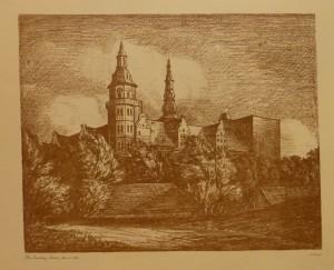 """Kr. Sinding Larsen """"Fra Kronborg Bastion""""(København)/40,2x33cm/kr. 400,-(fra mappe under)"""