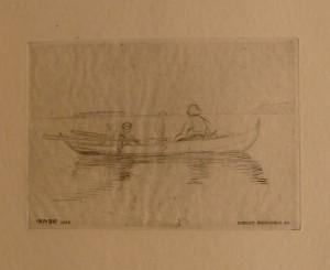 "Bernt Grønvold ""Fisker""/15x10,5cm/kr. 250,-(fra mappe under)"