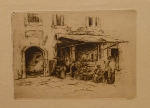 "Olaf Willums ""Fruktselgerske, Venedig""/26x19cm/kr. 300,-(fra mappe under)"