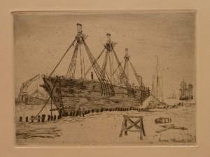 "Einar Stensby ""Gammel skute""/29x21,5cm/kr. 300,-(fra mappe under)"