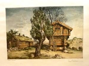 """Arent Christensen """"Stabbur Telemark""""/36c26,5cm/kr. 1.200,-"""