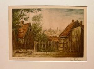 """Arent Christensen """"Utsikt fra Enerhaugen""""/36,3x26,6cm/kr. 1.200,-"""