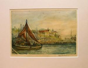 """Arent Christensen """"Ved Akershus""""/36,6x26,6cm/kr. 1.200,-"""