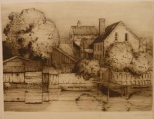 """Arnt Christensen """"Ved elven""""(høyst sannsynlig Akerselven)48x36,7cm/kr. 1.000,-"""