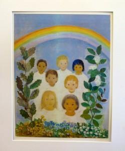 """Borghild Rud(1910-1999) """"Barn av regnbuen / 38,5x50,5cm / kr. 2.000,-"""