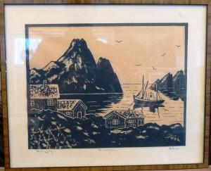E.K (?) '69/Fra Lofoten/silketrykk/45x37cm/Kr. 700,-