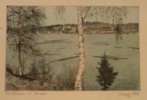 "Halvard Storm ""fra Glomma ved Elverum (1932)/29,4x20,5cm/kr. 600,-"