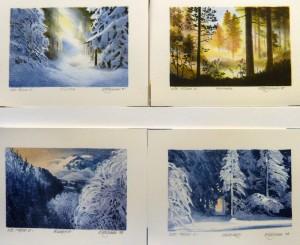 Vinter/Sommer/Rimfrost/Vinterskog/litografi/15x10cm/kr. 450,- pr. stk.