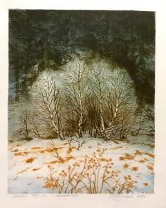 I skogkanten/litografi/24x30cm/1 stk!/Kr. 1.800,-