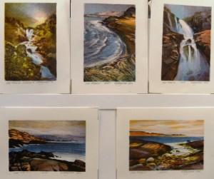 Kvernfoss/Bukt/Foss/Kyst/I fjæra/litografi/10x15-15x10cm/Kr. 450,- pr.stk
