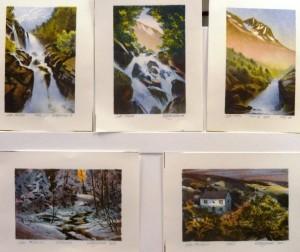 Foss/Åpning/Foss og fjell/Lysning/Høst/litografi/10x15-15x10cm/Kr. 450,- pr. stk