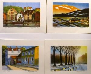 Sjøboder/Morgenlys/Gammel bydel/Fra Frognerparken/litografi/10x15-15x10cm/Kt. 450,- pr. stk