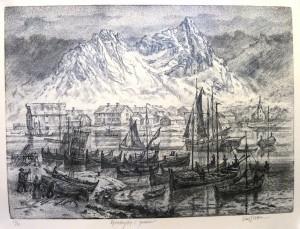 Kjerringøy i januar/lito/58x42,5cm/1ex!/Kr. 6.000,-