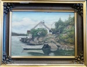 E Krosvik/Tromøy 1938/Olje/52x40cm/Kr. 800,-