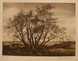 """Christian Christensen """"Lofthus ved Oslo""""/49x37,7cm/kr. 1.200,-"""