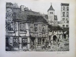 """Kristian Kalmer / Etsning """"Fra Holmesngate i Vika""""/31,5 x 24cm/1ex/kr. 500,-"""