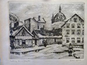 "Kristian Kalmer / Etsning /""Sneløsning Hammersborg Torv""/32 x 24cm/1ex/Kr. 500,-"
