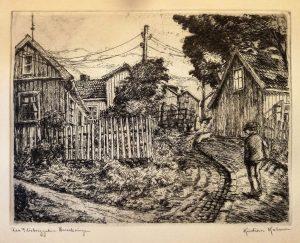 """Kristian Kalmer/Etsning """"Fra Flisberggaten Enerhaugen""""/32 x 24cm/1ex/Kr. 500,-"""