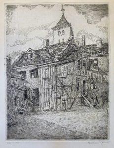 """Kristian Kalmer / Etsning """"Fra Vika""""/24,5 x 31,5cm/1ex/Kr. 500,-"""