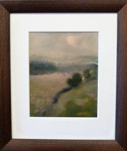 "Akvarell ""Soldis""/41x48cm/Kr. 4.450,- m/ramme"