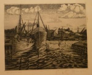 """Kristian Kalmer """"Aften ved Oslo havn""""/35,8x31cm/kr. 1.000,-"""